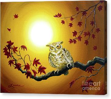 Owl In Autumn Glow Canvas Print by Laura Iverson