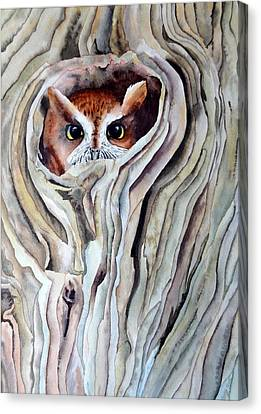 Canvas Print featuring the painting Owl by Laurel Best