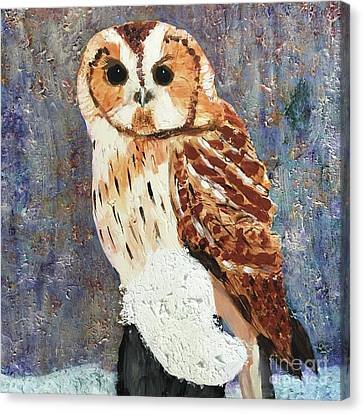 Canvas Print featuring the painting Owl On Snow by Donald J Ryker III