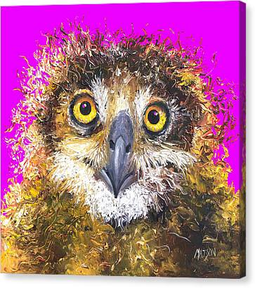 Baby Bird Canvas Print - Owl Painting On Purple Background by Jan Matson