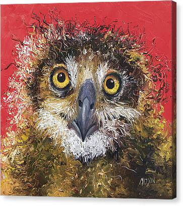 Owl Painting On Red Background Canvas Print
