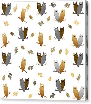 Owl Pattern Canvas Print by Christina Rollo
