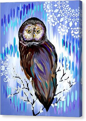 Woman And Owl Canvas Print - Owl Phone Case by Cathy Jacobs