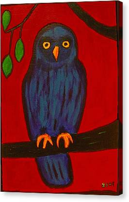 Canvas Print featuring the painting Owl Uggla by Zeke Nord