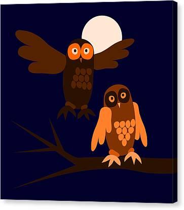 Wildlife Celebration Canvas Print - Owls In Fullmoon Night by Lenka Rottova