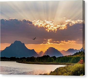 Oxbow At Sunset Canvas Print by Mary Hone