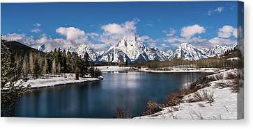 Oxbow Bend In Winter Canvas Print by TL Mair