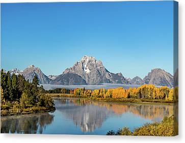 Oxbow Bend Reflecting Canvas Print by Mary Hone