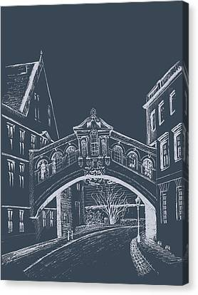 Canvas Print featuring the digital art Oxford At Night by Elizabeth Lock