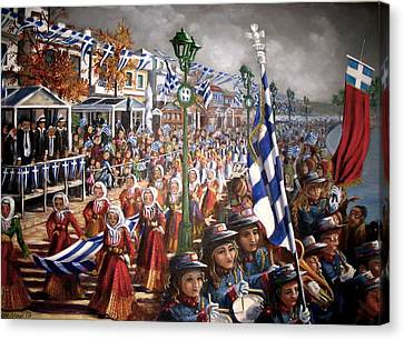 Oxi Day Parade Canvas Print by Yvonne Ayoub