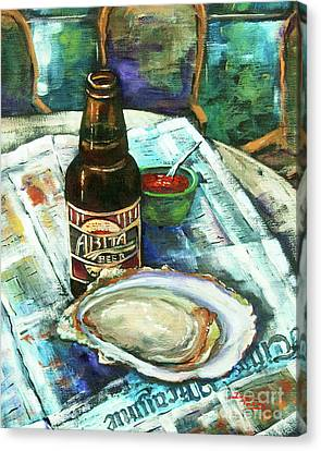 Raw Oyster Canvas Print - Oyster And Amber by Dianne Parks