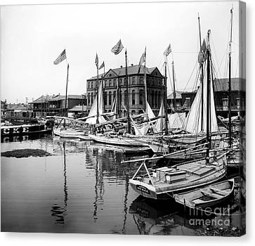 Oyster And Charcoal Luggers New Orleans Ca 1910 Canvas Print by Jon Neidert