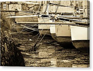 Oyster Boats Laid Up At Mylor Canvas Print