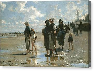 Oyster Gatherers At Cancale Canvas Print by John Singer sargent