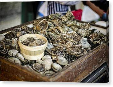 Raw Oyster Canvas Print - Oysters At The Market by Heather Applegate