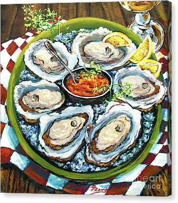 Raw Oyster Canvas Print - Oysters On The Half Shell by Dianne Parks