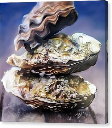 Oysters On The Half Shell  Canvas Print by Mark Tonelli
