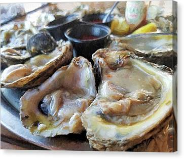 Raw Oyster Canvas Print - Oysters On The Halfshell  by JC Findley