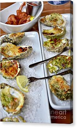 Oysters Rockefeller On The Half Shell Canvas Print by Jeramey Lende