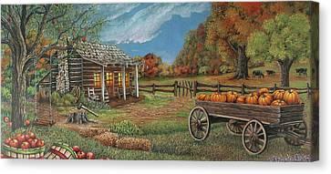 Old Cabins Canvas Print - Ozark Bounty by Teresa Frazier