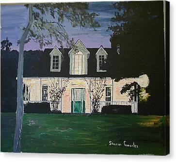 Ozark House At Dusk Canvas Print by Sharon  De Vore