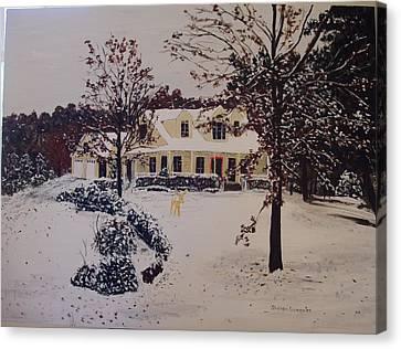 Ozark House Christmas Snow Canvas Print by Sharon  De Vore