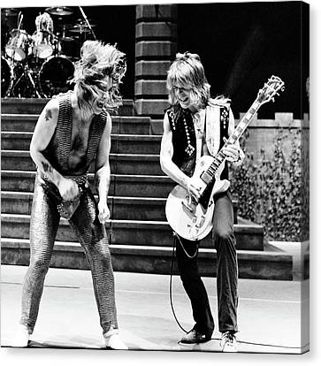 Canvas Print featuring the photograph Ozzy Osbourne And Randy Rhoads 1981 - Square by Chris Walter
