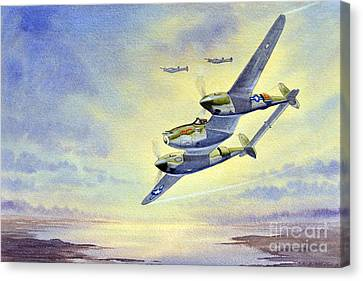 Canvas Print featuring the painting P-38 Lightning Aircraft by Bill Holkham