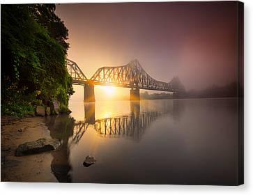 Railroads Canvas Print - P And Le Ohio River Railroad Bridge by Emmanuel Panagiotakis