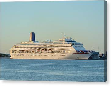 Canvas Print featuring the photograph P And O Oriana Cruise Ship by Bradford Martin