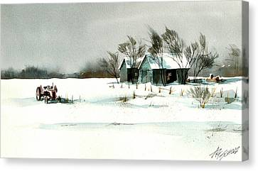 Winter's Farm Chill Canvas Print by Art Scholz