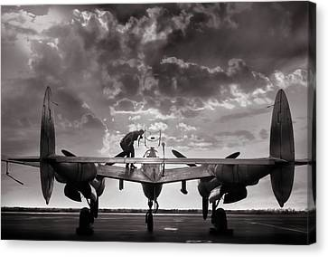 Vintage Aircraft Canvas Print - P38 Sunset Mission by Peter Chilelli