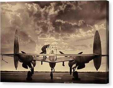Vintage Aircraft Canvas Print - P38 Sunset Mission V2 by Peter Chilelli