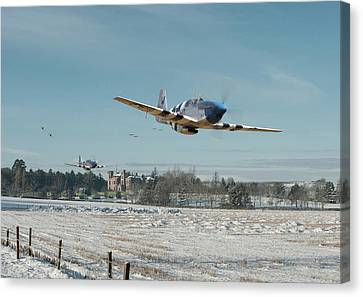 Canvas Print featuring the digital art P51 Mustang - Bodney Blue Noses by Pat Speirs