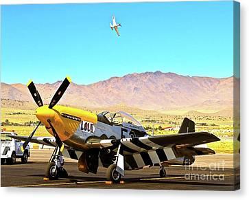 P51 Mustangs Lou Iv And Strega 2010 Reno Air Races Canvas Print by Gus McCrea