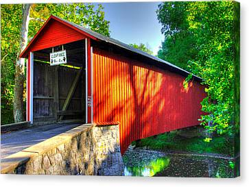 Pa Country Roads - Witherspoon Covered Bridge Over Licking Creek No. 4b - Franklin County Canvas Print