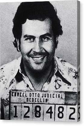 Pablo Escobar Mug Shot 1991 Vertical Canvas Print