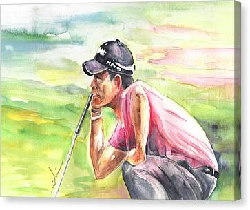Pablo Larrazabal Winning The Bmw Open In Germany In 2011 Canvas Print by Miki De Goodaboom