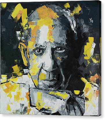 Canvas Print featuring the painting Pablo Picasso Portrait by Richard Day