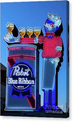 Pabst Blue Ribbon Neon Sign Fremont Street Canvas Print by Aloha Art