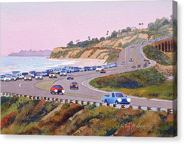 Pacific Coast States Canvas Print - Pacific Coast Hwy Del Mar Dusk by Mary Helmreich