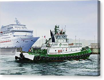 Canvas Print featuring the painting Pacific Escort Cruise Ship Assist by James Williamson