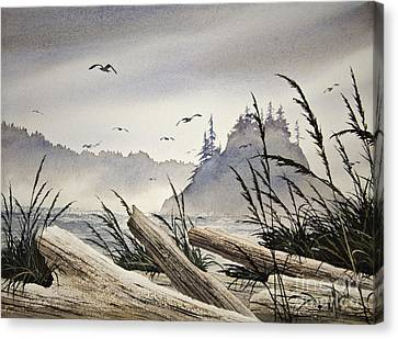 Pacific Northwest Driftwood Shore Canvas Print by James Williamson