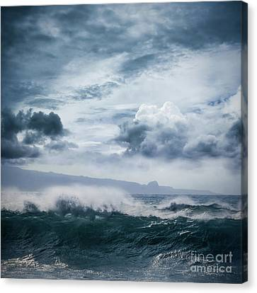 Canvas Print featuring the photograph He Inoa Wehi No Hookipa  Pacific Ocean Stormy Sea by Sharon Mau