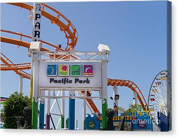Roller Coaster Canvas Print - Pacific Park At Santa Monica Pier In Santa Monica California Dsc3676 by Wingsdomain Art and Photography