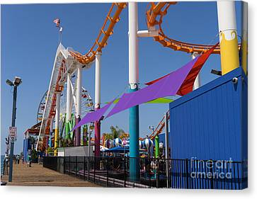 Roller Coaster Canvas Print - Pacific Park At Santa Monica Pier In Santa Monica California Dsc3681 by Wingsdomain Art and Photography