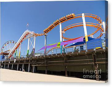 Roller Coaster Canvas Print - Pacific Park At Santa Monica Pier In Santa Monica California Dsc3699 by Wingsdomain Art and Photography