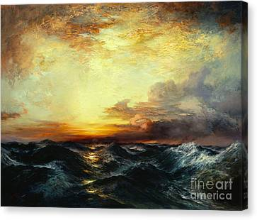 Pacific Sunset Canvas Print by Thomas Moran