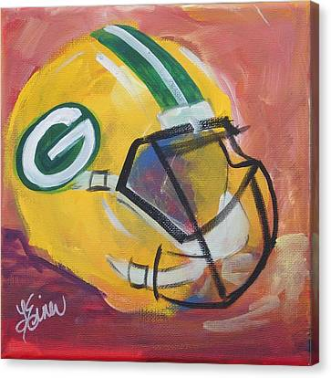 Packer Helmet Canvas Print by Terri Einer