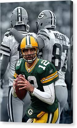 Packers Aaron Rodgers Canvas Print by Joe Hamilton